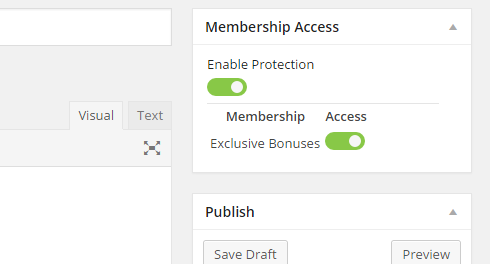 """The image shows the """"Membership Access"""" options box above the """"Publish"""" box where you can save and publish pages. There is a button to enable protection and a list of the available membership levels to enable or disable protection on."""