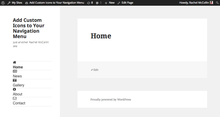 Menu icons on home page - menu item width corrected to full width of container