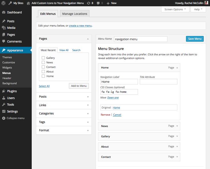 Menus Admin Screen with CSS Classes added