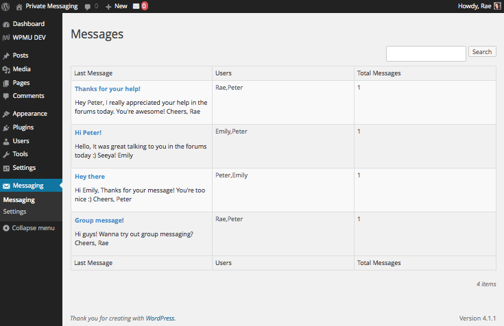 Private Messaging messages