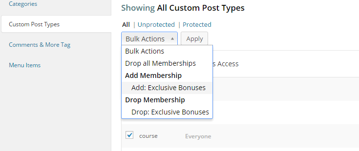"Custom post types have been selected from the list and the ""Bulk Actions"" drop down box has been clicked. The mouse is hovering over the ""Add: Exclusive Bonuses"" membership."