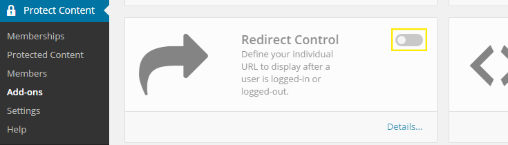 """The """"Redirect Control"""" add-on box with the on/off toggle switch highlighted on the top, right corner."""