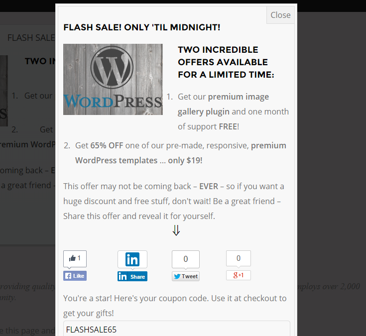 "A sample ""flash sale"" offer for a free image gallery plugin with one month support and 65% off a WordPress template in a pop-up. Social sharing icons are displayed at the bottom and the ""success"" message is displayed with a coupon code since the offer was successfully shared."