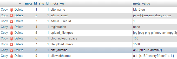 "The ""site_meta"" row is highlighted under the ""meta_key"" column."