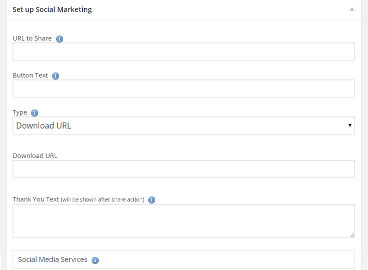 A segment of the settings when creating an ad with the social marketing plugin.