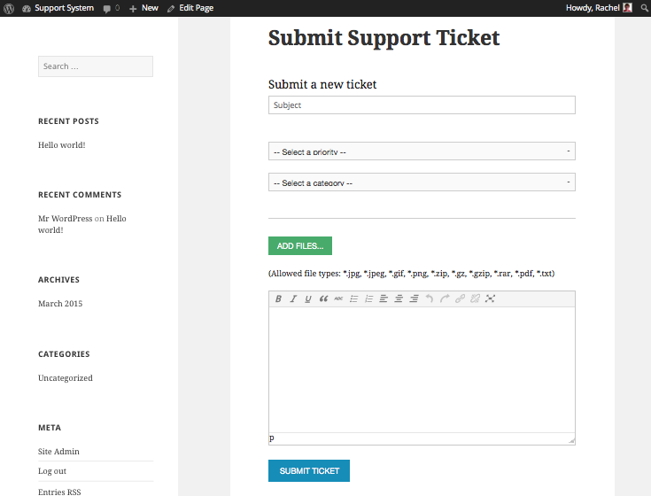 Submit support tickets