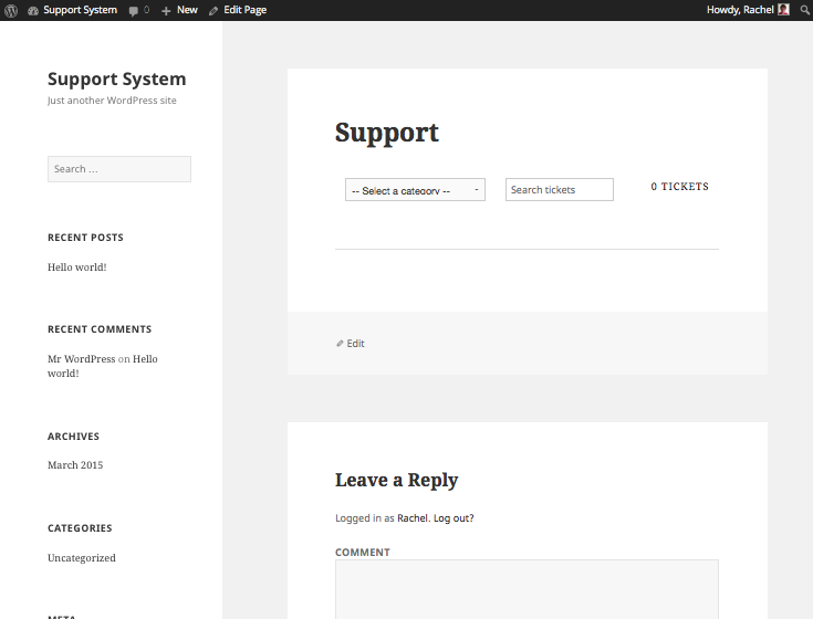 Support page front-end