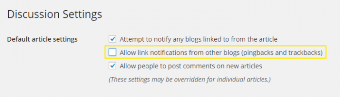 "The Settings > Discussion page. The ""Allow link notifications from other blogs (pingbacks and trackbacks)"" under the heading ""Default article settings"" is highlighted."