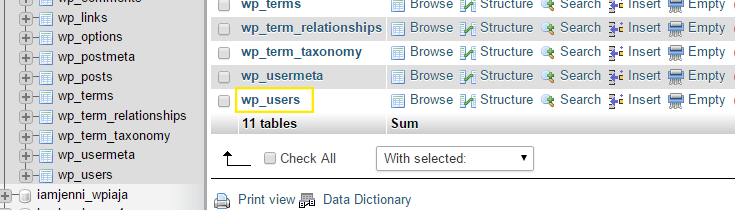 "The ""wp_users"" table is highlighted in the list of tables for the selected database."
