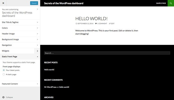 WordPress amedning settings via the Theme Customizer