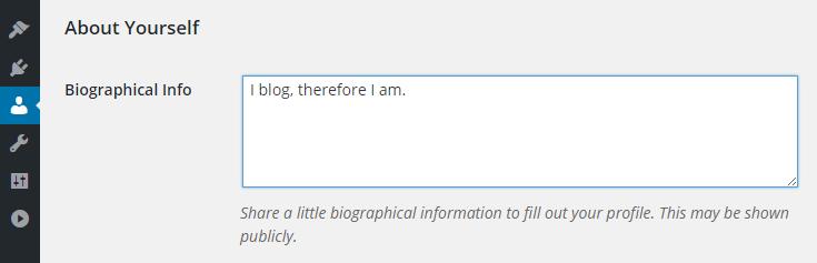 WordPress User Profile screen