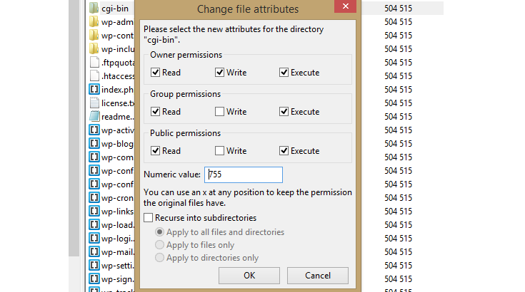 "The ""Change file attributes"" pop-up window in FileZilla."