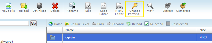 "The ""Change Permission"" icon is highlighted in cPanel's file manager."