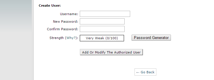 "Fields are displayed to enter a desired username, password and password confirmation in order to password protect a directory. There is also a password strength testing indicator bar and a ""Password Generator"" button."