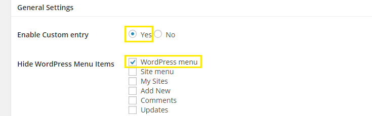 "The ""Yes"" option beside ""Enable Custom Entry"" is selected and highlighted as is the ""WordPress menu"" checkbox for the option ""Hide WordPress Menu Items"""