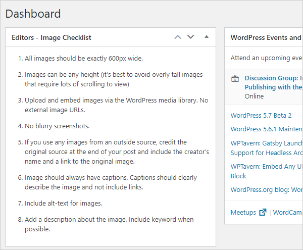 Dashboard Sticky Notes panel.