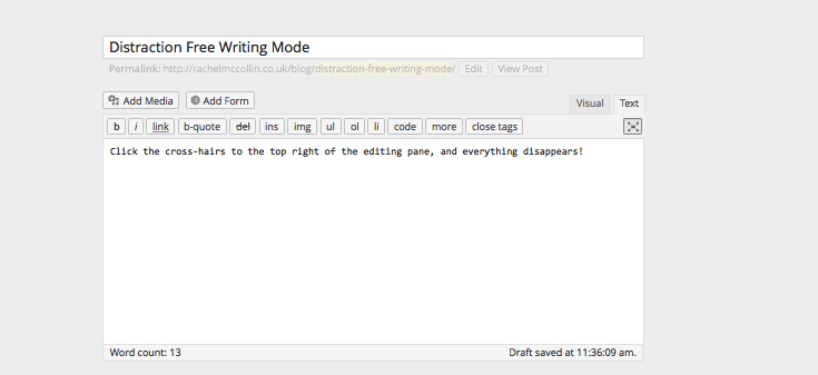 WordPress distraction free writing mode