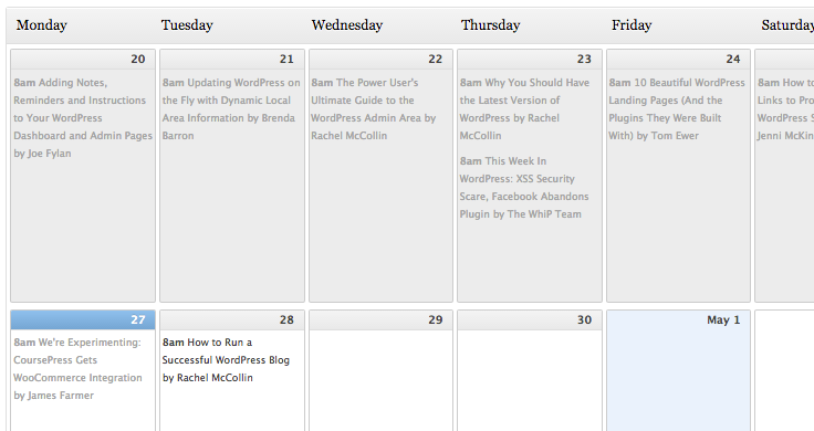 The free Editorial Calendar plugin is a fantastic tool for scheduling posts. We even use it for our blog.