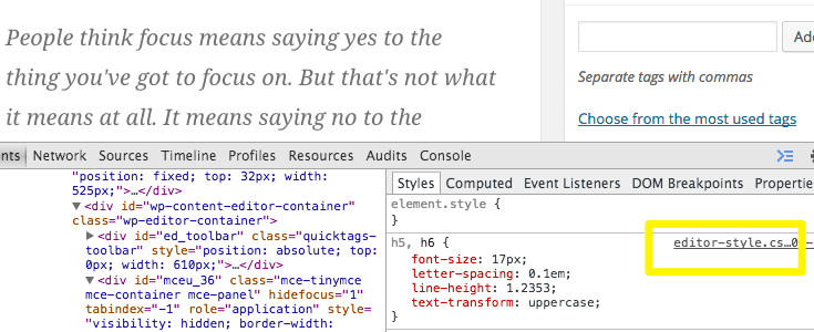 WordPress post editor default CSS styles