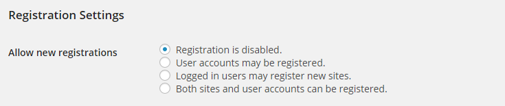 The settings for allowing user registrations in a network.