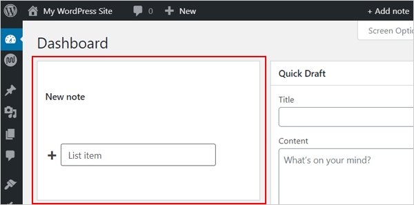 WP Dashboard Notes - new note.
