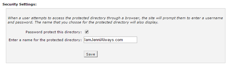 The security settings to password protect a selected directory.