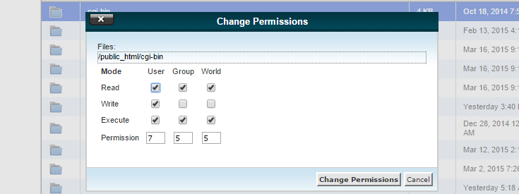 "The ""Change Permissions"" pop-up shows a folder permission of 755 with the option to change it."