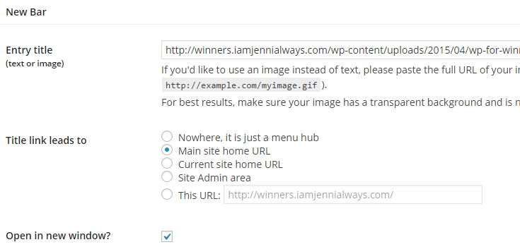"An image link is entered to add a logo in the Ultimate Branding ""Admin Bar"" tab."