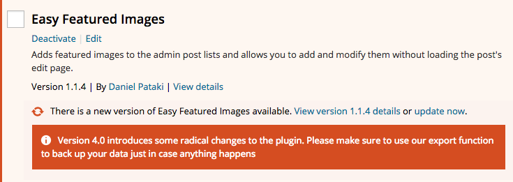 Plugin update notice