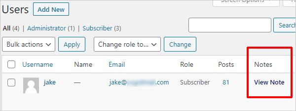 User Notes - Notes Column