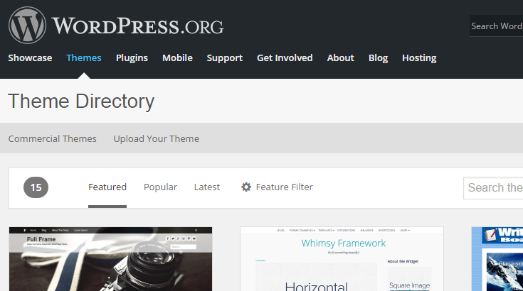 The WordPress Theme Directory page.