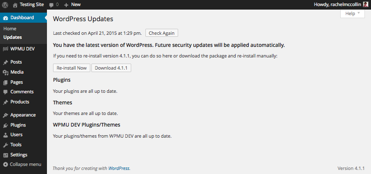 WordPress Updates Screen - everything up to date