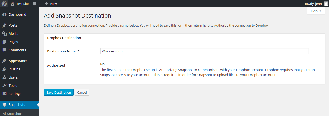 "The ""add Snapshot Destination"" setup page for Dropbox. The ""Destination Name"" has been set to ""Work Account."""