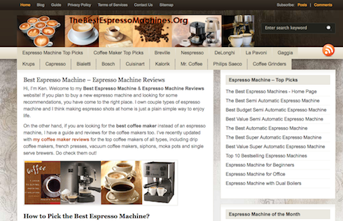 The Best Espresso Machines is a blog dedicated to coffee makers--and includes plenty of Amazon affiliate links to rake in the dough.