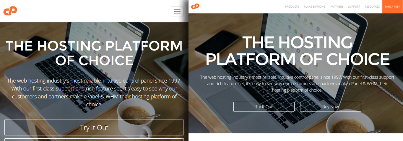 A comparison of cPanel's desktop and mobile site. They are practically the same.