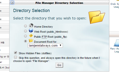 "The ""File MAnager Directory Selection"" pop-up in cPanel."