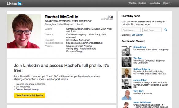 LinkedIn - Rachel McCollin's profile page