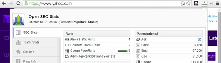 Open SEO Stats extension
