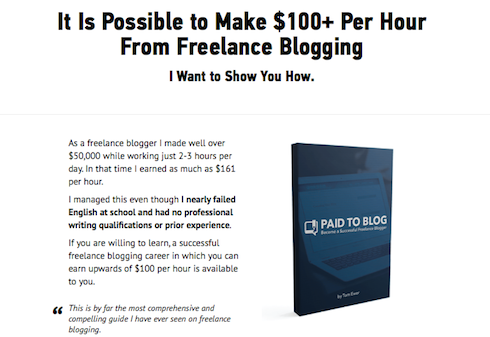 Tom Ewer's Paid to Blog guide is an ebook and e-course in one.