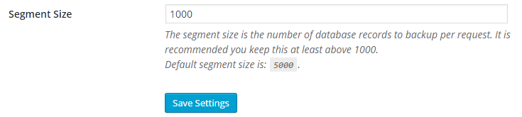 "The default value of 1000 is set in the field for ""Segment Size."""