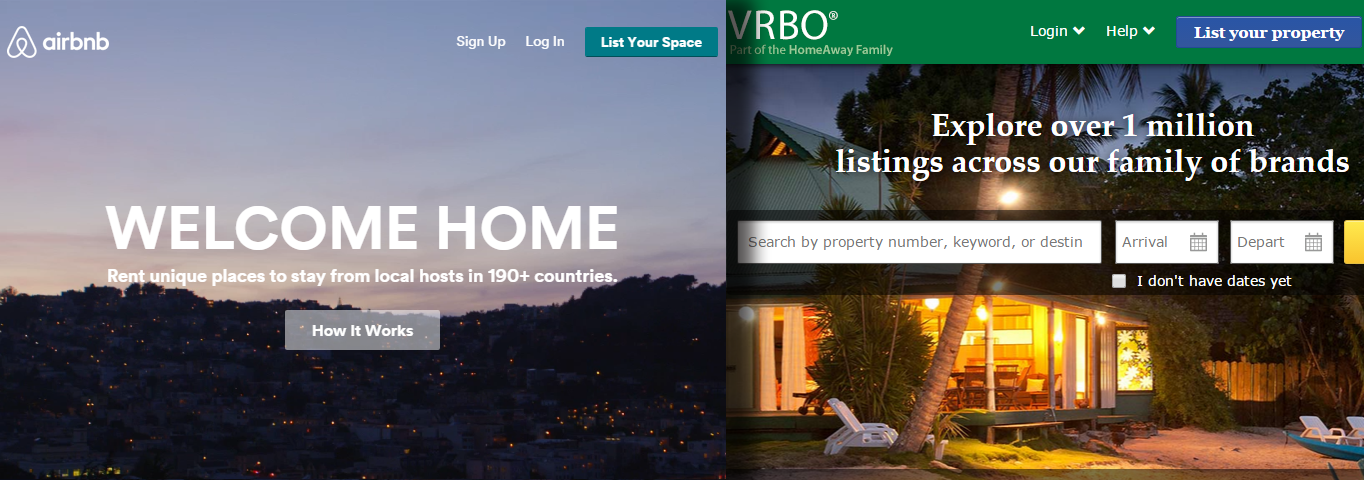 A side-by-side comparison of the sites for airbnb.com and vrbo.com.