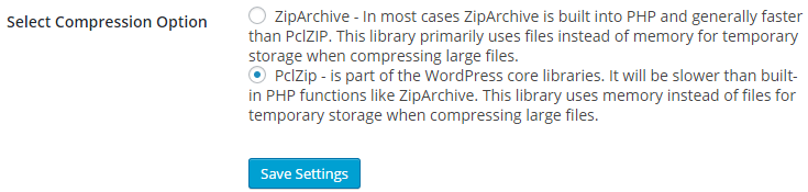 The PclZip compression option is selected by default in the Snapshot Pro global settings page.