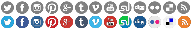 Social media icon sprite image with two sets of icons.