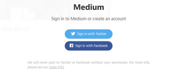 Medium social signup screen