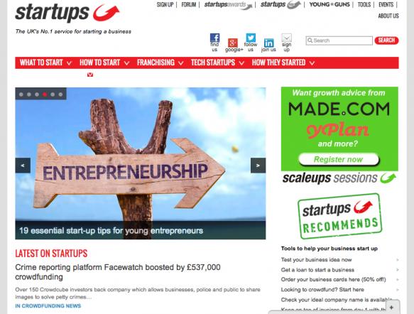 UK startup support website