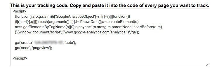 Your Google Analytics account will provide you tracking code similar to this.