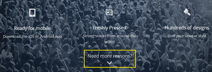 A scrolling button placed on the featured image section of WordPress.com is highlighted.
