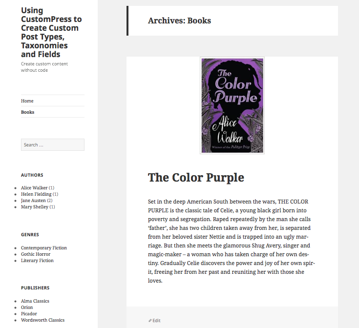 Books listing page with widgets and menu
