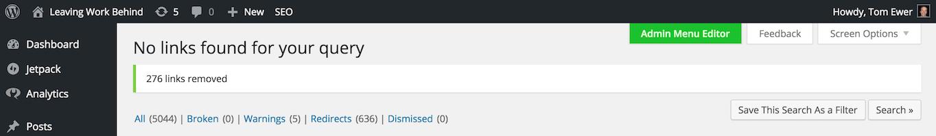 Broken links removed confirmation