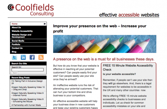 Coolfields website home page